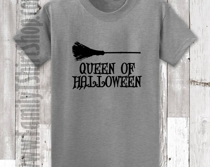 Queen of Halloween Broom T-Shirt