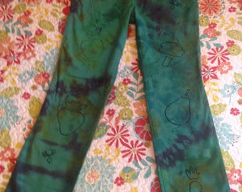 Women's Size 4P Tie Dye Teal Jeans with Fruits and Veggies