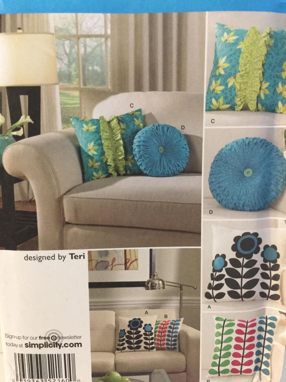 Simplicity 2160 Decorative Throw Pillows Sewing Pattern, Couch Pillow, Bed Pillow, Square Pillow ...