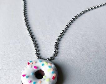 Donut Necklace Chocolate Doughnut Donut Pendant Polymer Clay Necklace Cake Donut
