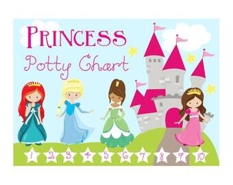 Princess Potty Chart - Reward Chart - Reward System - Family Organization - Preschool - Printable Potty Chart