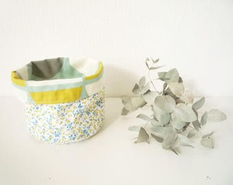 Tidy floral - flowers blue and yellow - blue/yellow/grey linen
