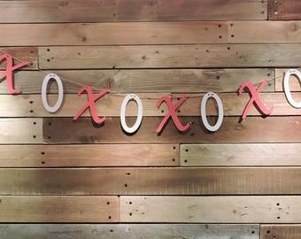XOXO  Banner, Valentines Banner, Valentines Decor, Love Banner, Valentines Garland, Hugs and Kisses