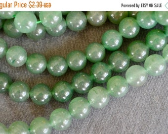 20% SALE 8mm Aventurine Gemstone Beads Green Stone Beads (12 beads) Round Stone Beads Shimery Green  8mm Stone Beads
