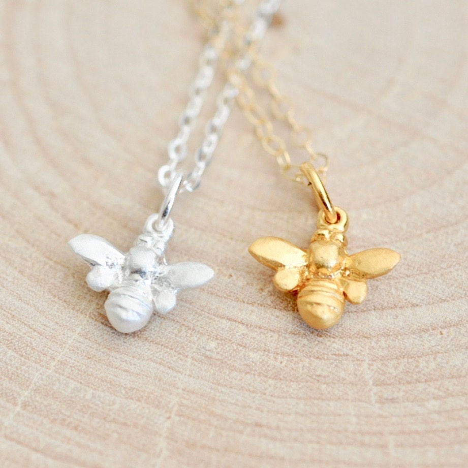 bee necklace in sterling silver bumble bee necklace honey