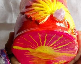 Sun Rising mug with Amethyst Crystal, Meditation, Fantasy, healing,peaceful,enchanting, personalised mug, peace, personalised gift.