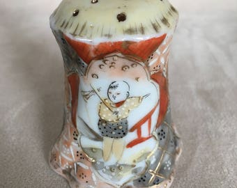 Vintage Hat Pin Holder, Salt Shaker, Asian Chinese Design