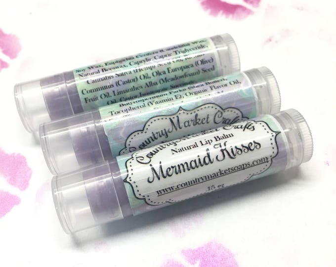 Featured listing image: Mermaid Kisses Lip Balm Natural Bees Wax Lip Balm - Pina Colada Flavor