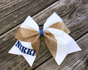 Cheer bow, Sparkly cheer bow, Gold and white Cheer bow, custom cheer bow