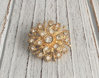 Golden Rhinestone Floral Brooch - 1 piece