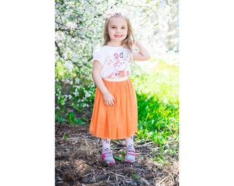Beautiful orange girl tulle skirt, little girls skirt, tulle skirt, soft tulle skirt, princess tutu skirt, flower girl