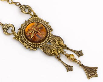 Amber Dragonfly Necklace, Gold Art Nouveau Necklace, Dragonfly Jewelry, Filigree Necklace, Birthday Gift Wife, Girlfriend, Mom, Sister, Me