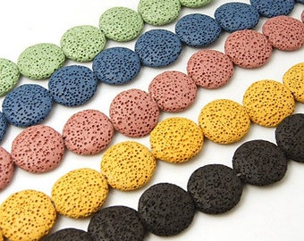 Set of 4 Lava Stones, Flat Round, Mixed Colors