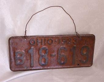 Vintage Rusty license Plate 1933 Ohio plate