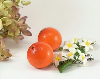 Big Orange Earrings - Polymer clay jewelry - Handmade Orange jewelry - Orange citrus jewellery - Fruit earrings - mandarin earrings