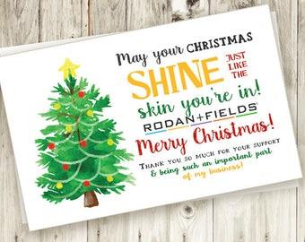 Christmas Thank You Card - Printable - Instant Download - Thankful - Christmas Tree - Holiday  - Watercolor - Rodan and Fields