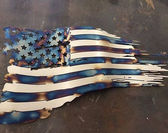 2ft Metal American Tattered Flag