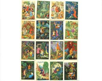 Bazhov, Set of 16 Soviet Unused Postcards, The Stone Flower, Illustration, Fairy Tale, Vintage, Kovalyov, Bureyev, 1968