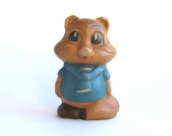 Chipmunk, Rare rubber vintage toy, Old Russian Toy, Soviet doll, Figurine, Animal, Nursery Decor, Made in USSR, 1960s