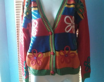 1980s Flowers and Rainbow Sweater / knit striped sweater / Vintage sweater from Carnival of Fashion