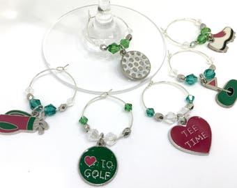 Golf Lover Wine Charms