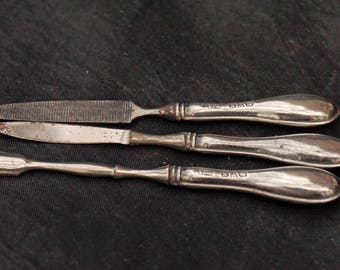 Nice lot of vintage Manicure Tools with Silver Hallmarked Handles