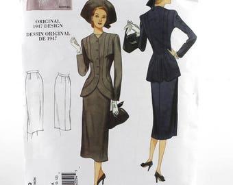 Vogue 1947 original design Jacket and Skirt Sewing Pattern, Uncut Sewing Pattern, Vogue V1019, Size 6-12