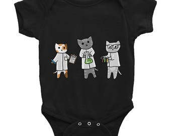 Science Cats Infant Bodysuit, Short Sleeve Creeper, Baby One-Piece, cute cats, scientific, Nerdy Kids, adorable, baby gift, baby shower