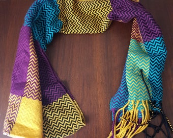 Vintage Colorful Scarf Purple Blue and Yellow