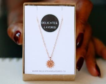 Flower Necklace, Sunflower Necklace, Sunflower Charm, Sunflower Jewelry, Sunflowers, Gift For Her, Bridesmaid Gifts, Petite Flower Necklace
