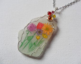 "Bright summer flower hand painted sea glass necklace with swarovski crystals - 18"" silver plated chain"