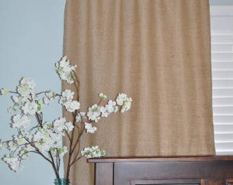 "Lined Burlap Window Curtain Panel 45"" Wide - Custom Length"