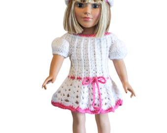 "AG white dress, Mary Jane shoes, hat, AG doll clothes, 18"" doll clothes, AG doll dress, 18 inch doll dress, crocheted dress, shoes"