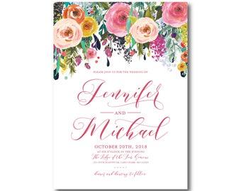 Floral Wedding Invitation, Boho Chic, Wedding Invite, Floral Wedding, Boho Invitations, Chic Invitations, Floral Invitations #CL242