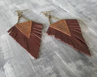 Dark Red Earrings. Leather Earrings. Boho Earrings. Bohemian Earrings. Red Bronze Earrings. Leather Fringe Earrings. Boho Chic Jewelry.