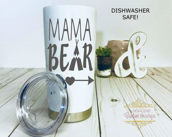 Mama Bear Engraved Stainless steel 20 oz Tumbler To go Cup Tea Thermos Insulated travel mug Gift for Mom Momma Her Mama Bear Cup Mug Mommy
