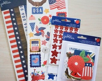 Pebbles Patriotic Collection - 4th of July, Independence Day, Land of the Free Set of 4 items