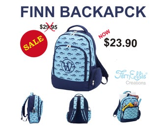 Personalized Finn Backpack, Finn Collection Personalized Backpack, Embroidery, Fish Backpack.