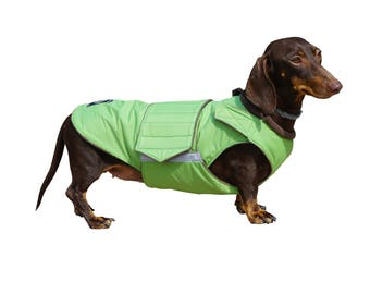 Dachshund Winter Dog Coat with underbelly protection - Custom made dog clothes - Waterproof / Fleece Dog Jacket - MADE TO ORDER