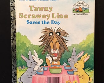 Vintage 1989 Tawny Scrawny Lion Saves The Day Golden Book Story