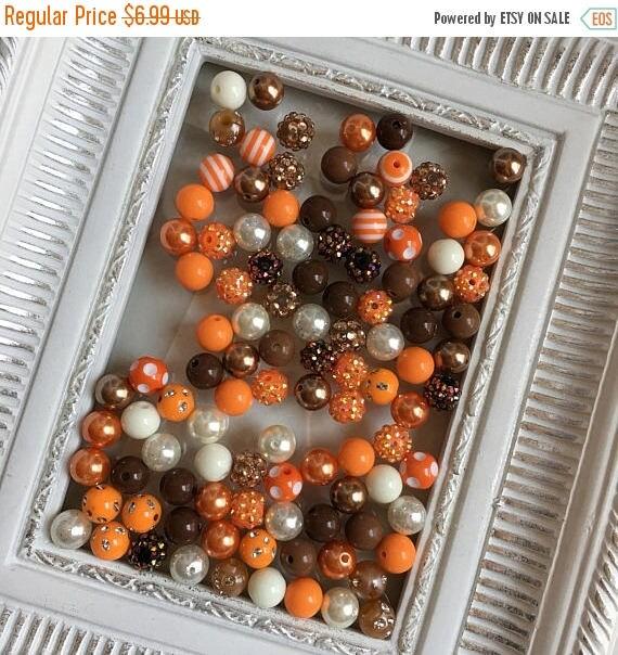 "SALE 12mm  ""Orange, Brown, Cream/Ivory""  {100 count}  Chunky Bubble Gum Bead Wholesale Bulk Bead Lot for Necklaces or Bracelets"