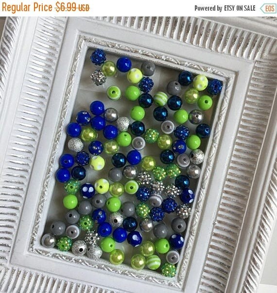 """SALE 12mm """"Seahawks: Lime, Royal Blue, & Gray/Silver"""" {100 count}  Chunky Bubble Gum Bead Wholesale Bulk Bead Lot for Necklaces or Bracelets"""
