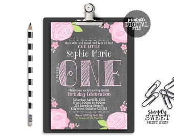 Girl First Birthday Party Invite Invitation 1st 1 One Flowers Rose Ranunculus ONE First Pink Green Chalkboard Chalk Pretty Cottage Chic DIY