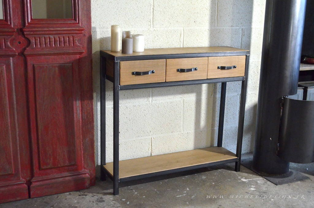 Table console bois m tal 3 tiroirs style industriel sur mesure - Console bois metal industriel ...