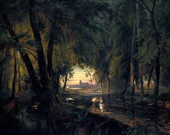Carl Blechen: Forest Path near Spandau. Fine Art Print/Poster (004416)