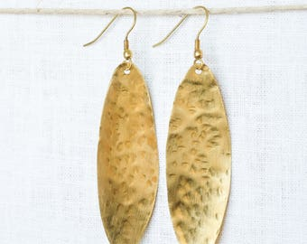 Gold Hammered Long Oval Earrings