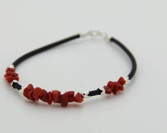 Man (teenagers) genuine bh 40 full-bodied red coral bracelet
