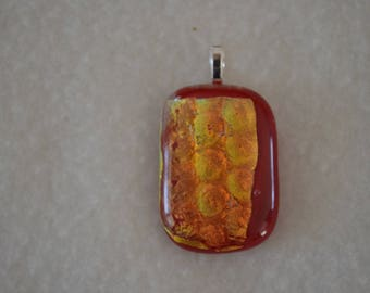 Red and yellow bubble effect glass pendant