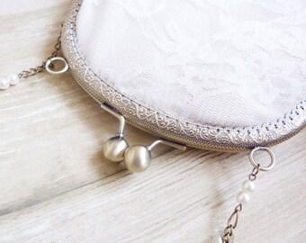 Romantic floral ivory lace pouch