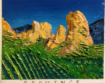 Provence France,  tiny canvas art, Original painting, vineyards in France